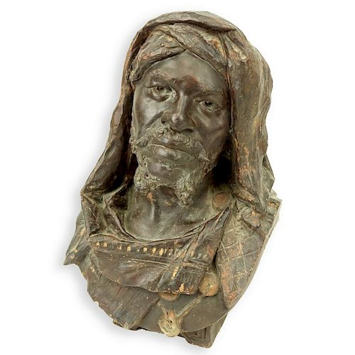 Orientalist Polychrome Terracotta Nubian Bust