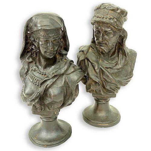 Pair of Spelter Orientalist Bust Figures