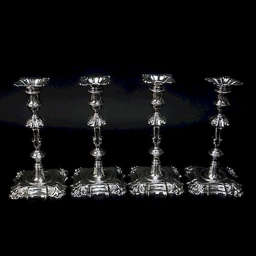 Four George II Period Sterling Silver Candlesticks