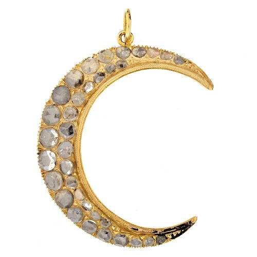 Antique style Diamond and 14K Crescent Moon