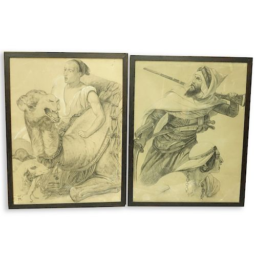 Pair 19th Century Orientalist School Drawings