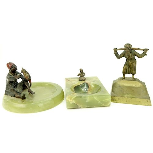 Three (3) Austrian Cold Painted Bronze Ashtrays