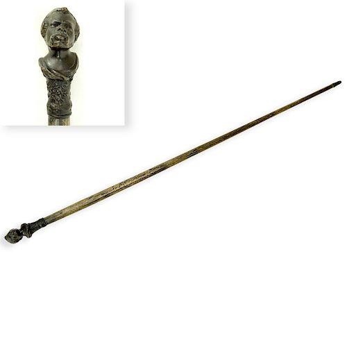 19th Century Bronze Nubian Figural Walking Cane