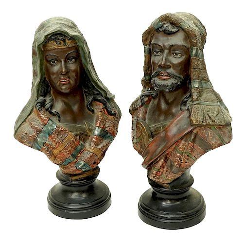 Pair of Vintage Polychrome Orientalist Figures