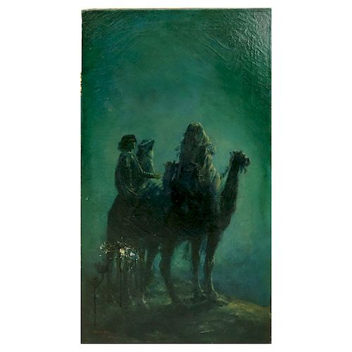 "Orientalist School O/C ""Bedouin Riders At Night"""