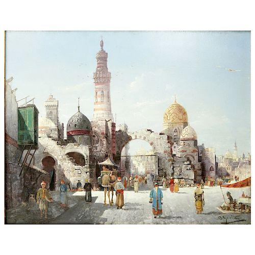 """Orientalist School O/P """"Busy City Street Scene"""""""
