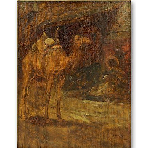 """Orientalist School Oil On Board """"Camel"""""""
