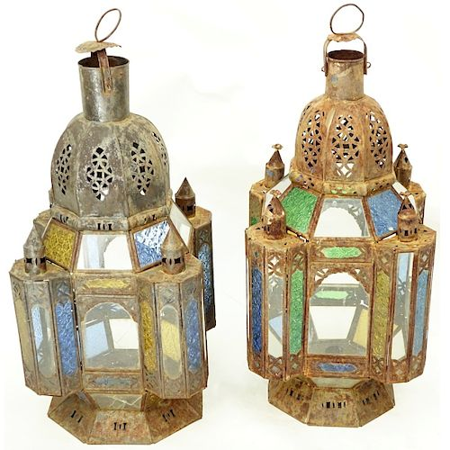 Pair of Antique Moroccan Metal and Glass Lanterns
