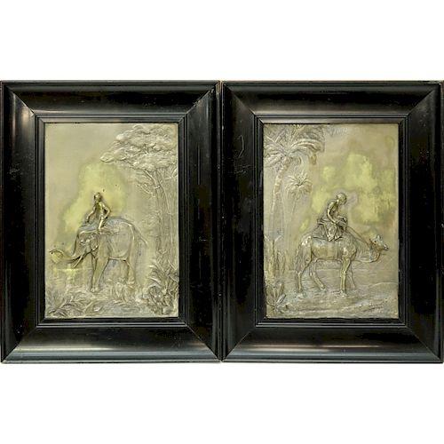 2 Vintage Orientalist School Brass Relief Panels