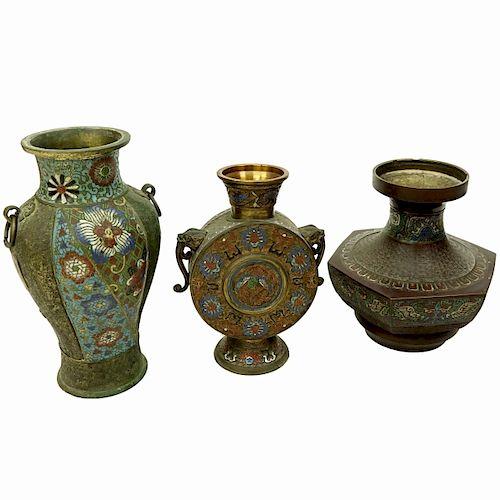 Three Impressive Japanese Bronze Champleve Vases