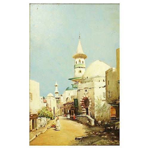 """Orientalist School Oil/Panel """"Tunisian Street"""""""