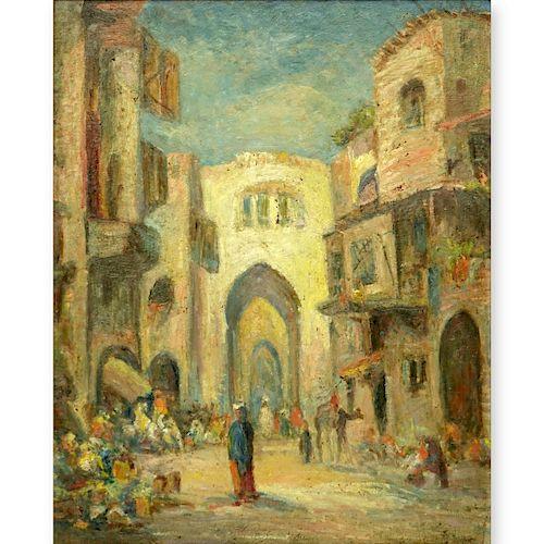"""Lucien Powell (1846 - 1930) O/B """"Market Scene"""""""