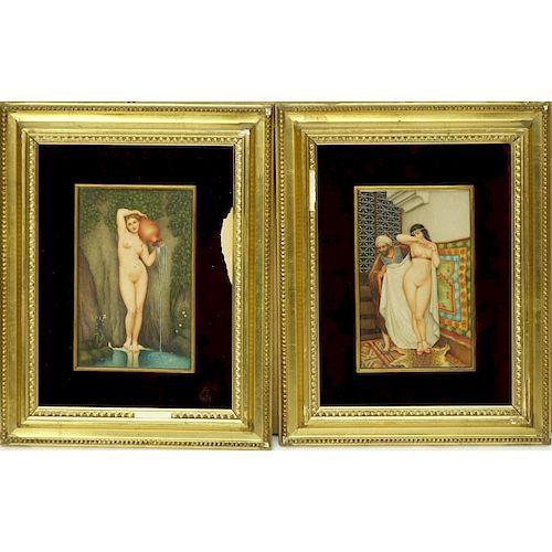 Pair Orientalist School Oil On Card Paintings
