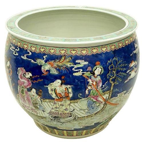 Large 20th Century Chinese Porcelain Fish Bowl