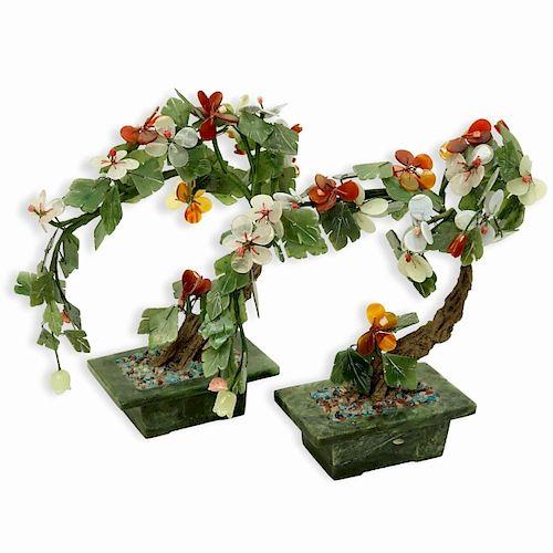 PAIR OF CHINESE MING STYLE HARDSTONE/JADE TREES