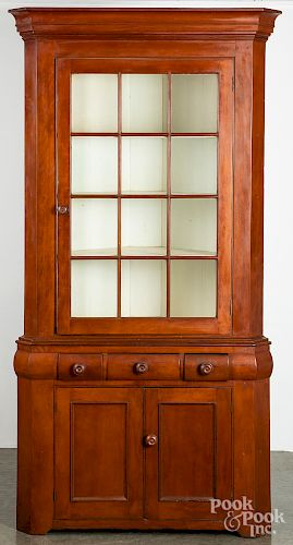 Pennsylvania cherry two-part corner cupboard