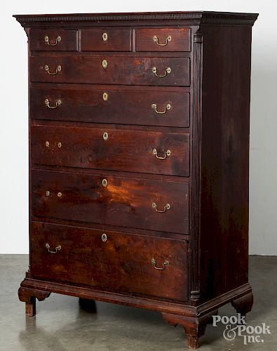 Chippendale walnut tall chest