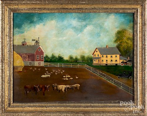 Primitive oil on board farmscene