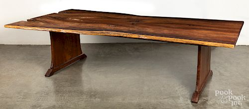 Large walnut free-form dining table