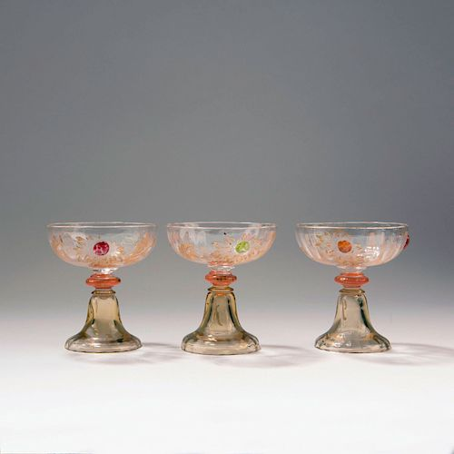 Three champagne glasses from the 'Chrysanthemes' set, 1903