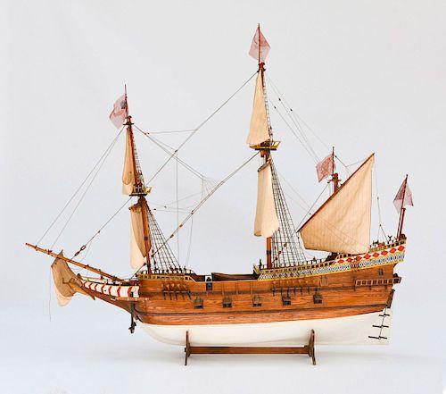 Model four-masted Spanish galleon