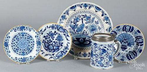 Delft blue and white charger, etc.