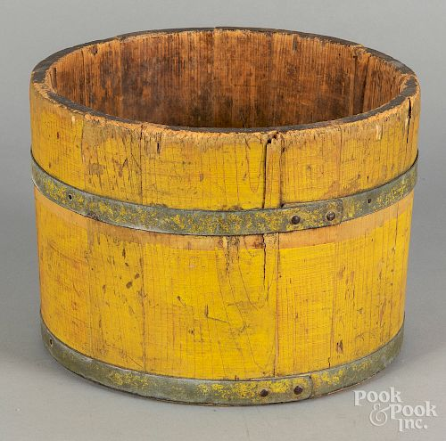 "Yellow painted bucket, 19th c., 8"" h., 11"" w."