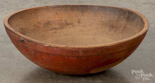 Turned wood bowl, 19th c.