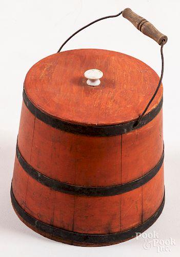 Salmon painted lidded bucket