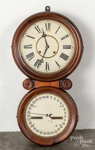 """Waterbury rosewood calendar clock, 29 1/2"""" h"""