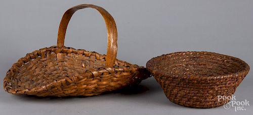 Rye straw basket, 19th c., etc.