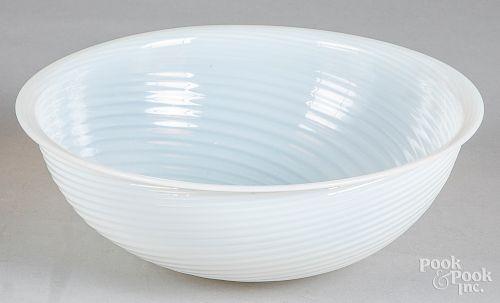 "Opalescent glass bowl, 4 1/4"" h., 11 3/4"" dia."
