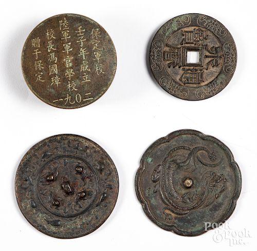 Two Chinese bronze mirrors, etc.