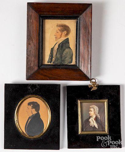 Three miniature watercolor portraits of gentlemen