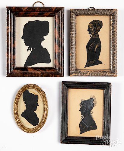 Four silhouettes, 19th c.