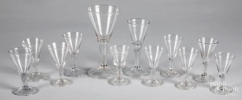 Blown colorless glass stemware, 19th c.