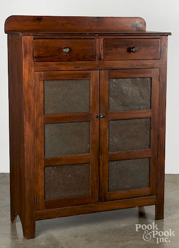 Pine pie safe, 19th c., with punched tin panels