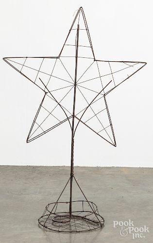 """Wire garden star ornament, 42"""" h."""