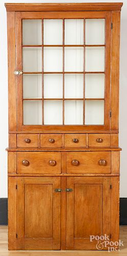 New England or Canadian pine stepback cupboard