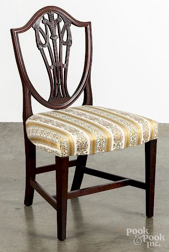 Hepplewhite carved mahogany dining chair