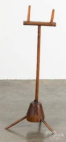 """Primitive oak candlestand, 19th c., 32 3/4"""" h."""