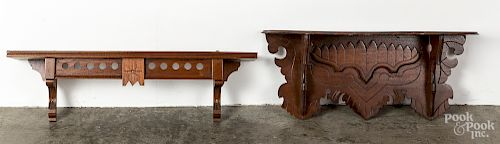 """Two Victorian walnut shelves, 24"""" l. and 28 1/2"""""""