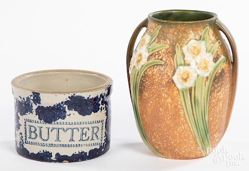 Roseville pottery vase, etc.