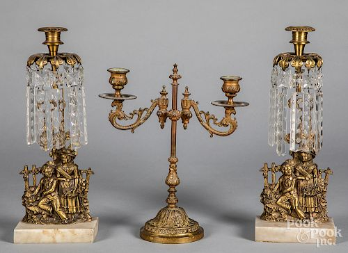 Pair of brass figural girondoles, etc.