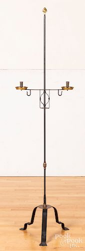 Contemporary wrought iron and brass candlestand