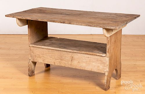 Pine and poplar bench table, late 19th c.