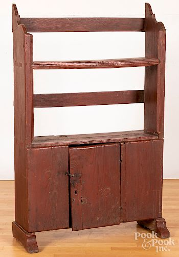 Painted pine bucket bench, 19th c.
