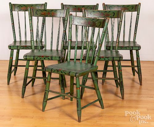 Six Pennsylvania painted plank seat chairs, etc.