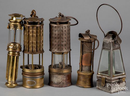 Brass and tin lanterns, to include a lamp