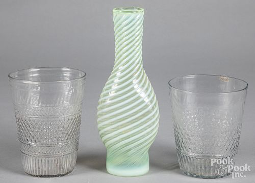 Two blown molded glass flips, etc.